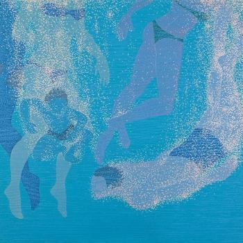 ATÉ DEBAIXO D'ÁGUA (à David Hockney),1,00 m X 1,00 m, Acrílica e acrílica em baixo relevo s/ tela, 2012