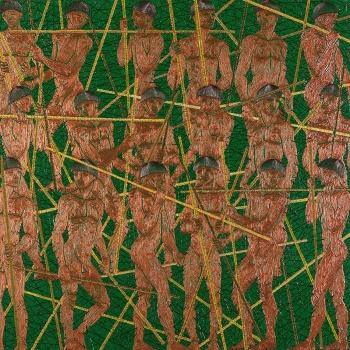 GUERRA DE PAUS (à Paolo Ucello), 90 m X 90 m, Acrílica e acrílica em baixo relevo s/ tela, 2012